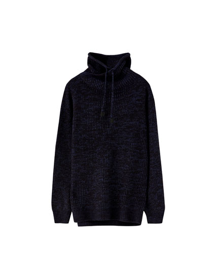 Sweater med wrap-around krave