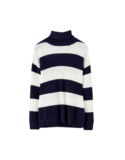 Navy blue stripe roll neck sweater