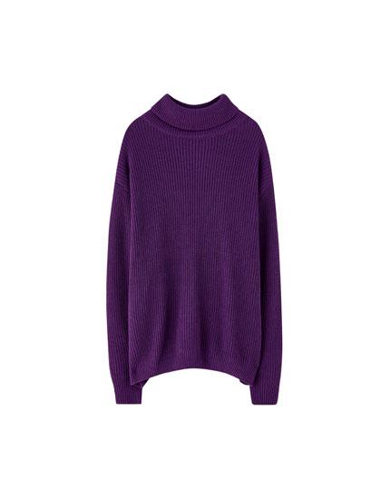 Sweater com gola alta de malha inglesa