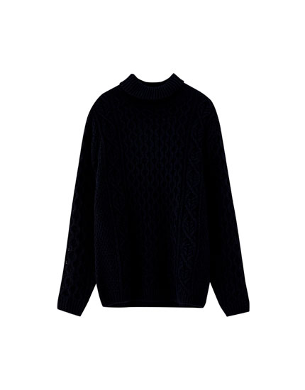 Pull col montant torsades