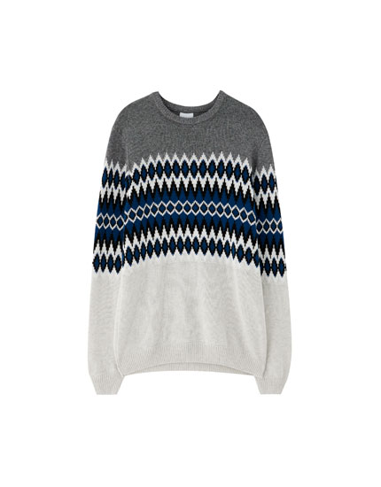 Jacquard colour block sweater