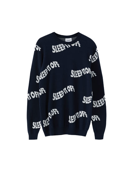 All-over slogan sweater