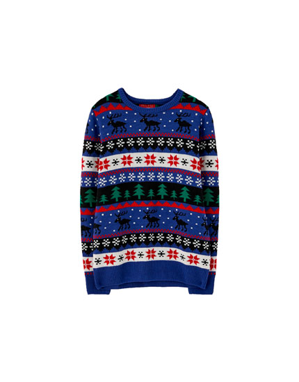 Blue patterned Christmas sweater