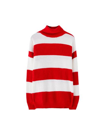Sweater de gola dobrada com riscas