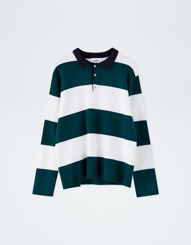 Pull & Bear - Rugby-Poloshirt mit langen Ärmeln - 6