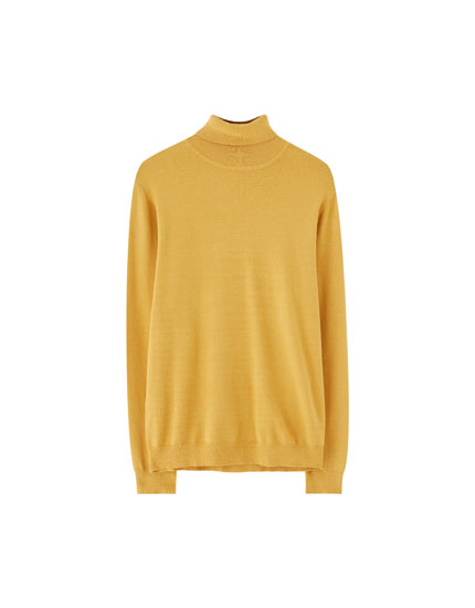 Plain viscose turtleneck sweater