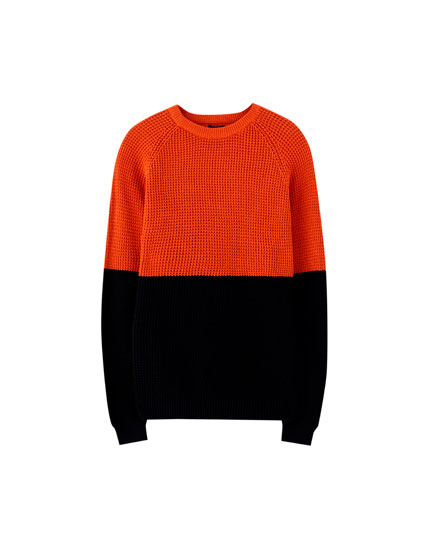 Raised knit colour block sweater