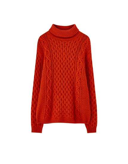 Cable-knit high neck sweater