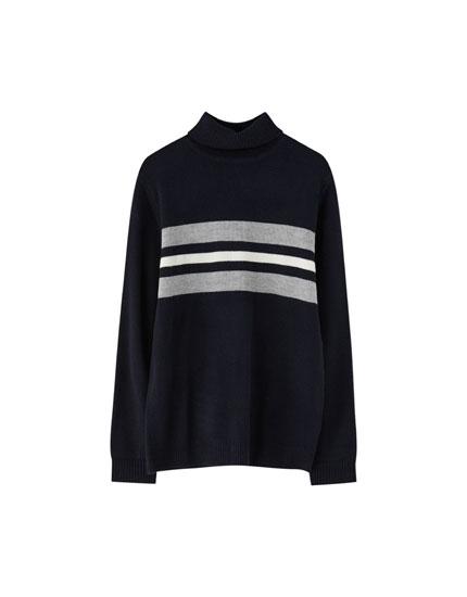 Wool turtleneck sweater with stripes