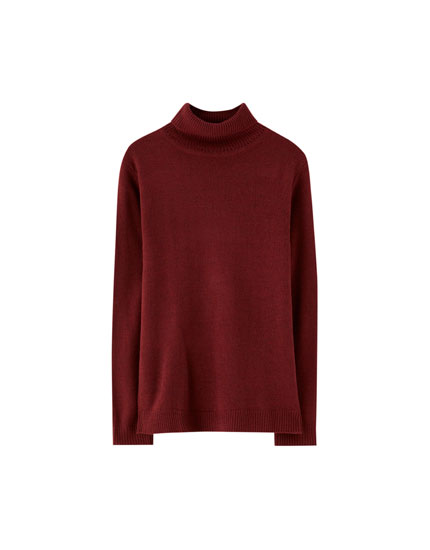 Sweater cuello cisne lana liso
