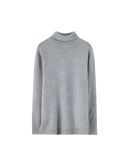 Plain wool turtleneck sweater
