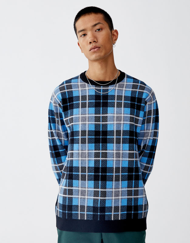 Checked Sweater by Pull & Bear