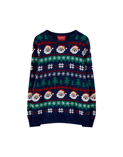 Navy blue Father Christmas sweater