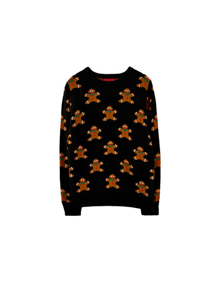 All-over gingerbread print Christmas sweater