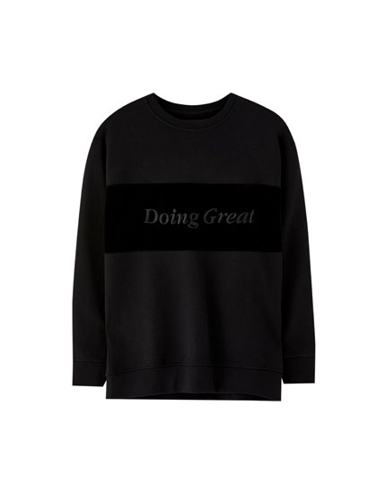 Velour panel sweatshirt