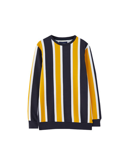 Wide vertical stripe sweatshirt