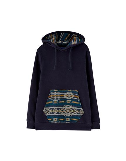 Patterned jacquard hoodie