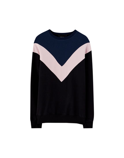 Sweatshirt with contrasting colour block design