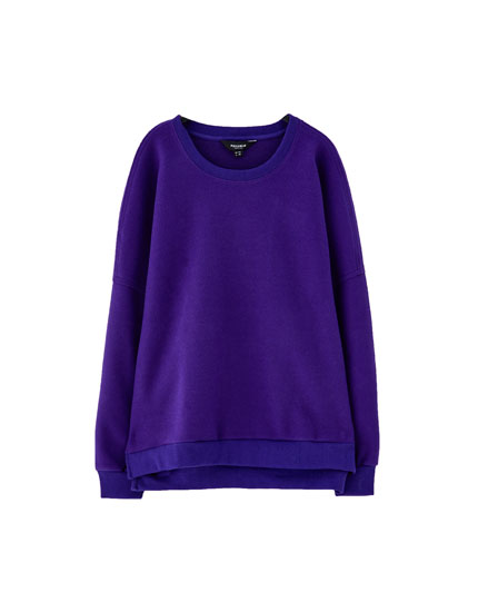 Brushed plush round neck sweatshirt