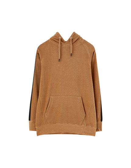 Velvet hoodie with corduroy stripes