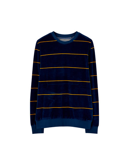 Striped velvet sweatshirt