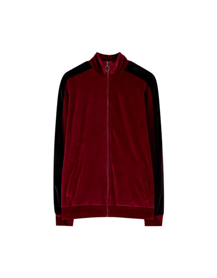 Zip-up burgundy velvet jacket