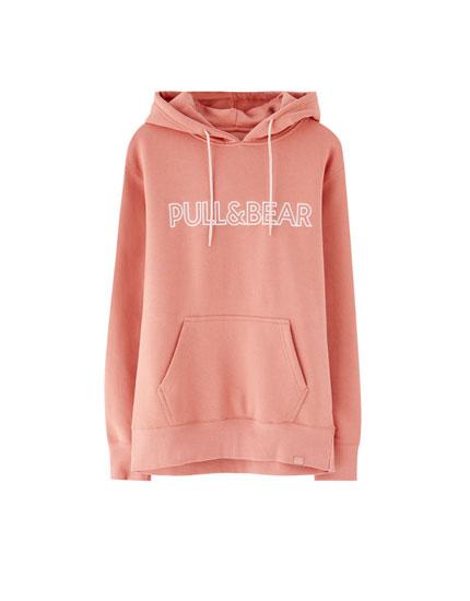 Sweatshirt med hætte og Pull&Bear-logo