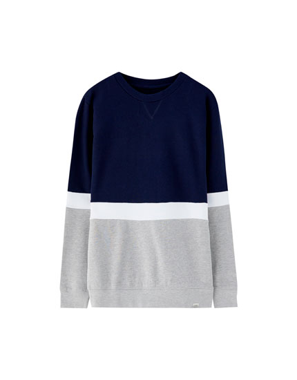 Plush towelling sweatshirt with panels