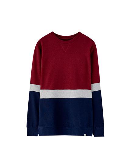 Plush towelling sweatshirt with panels