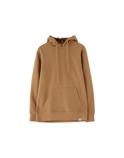 Basic sweatshirt med anoraklomme