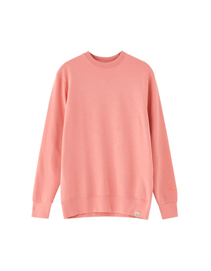 Basic sweatshirt i tyk plys