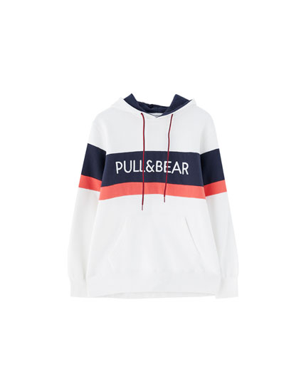 Logo colour block hoodie