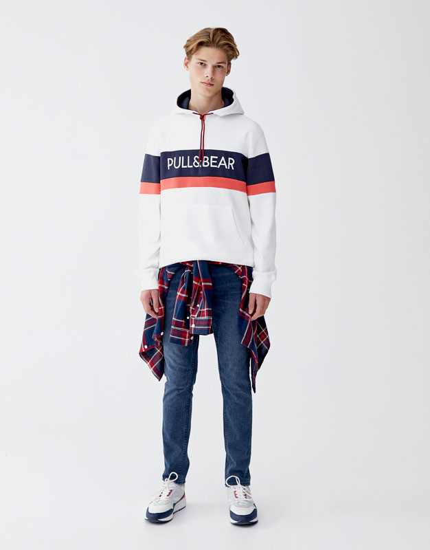 Logo Colour Block Hoodie by Pull & Bear