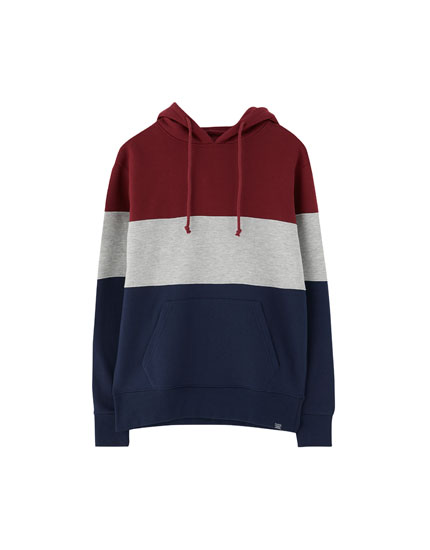 Brushed plush panelled hoodie