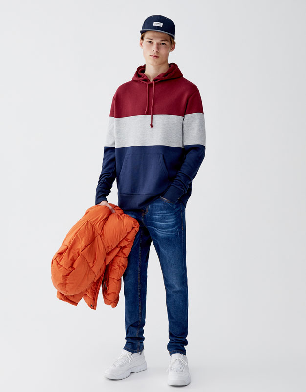 Sweatshirt Em Felpa Escovada Com Color Blocks by Pull & Bear