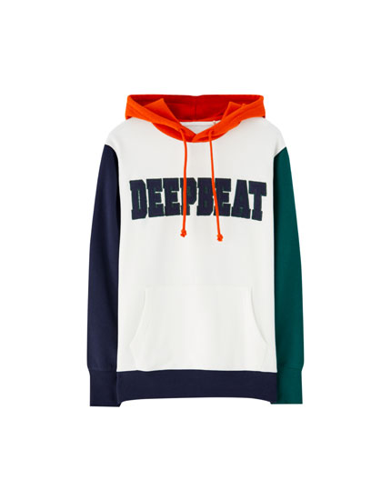 Hoodie with appliqué slogan