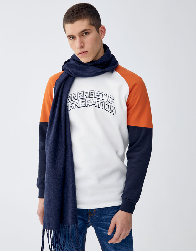 Sweatshirt With Panelled Sleeves And Slogan by Pull & Bear