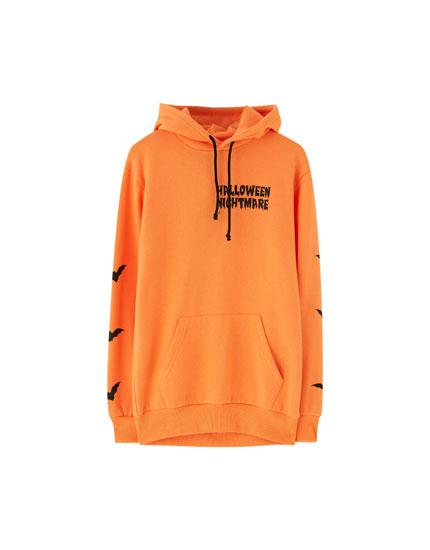 Balkabağı motifli Cadılar Bayramı temalı turuncu sweatshirt