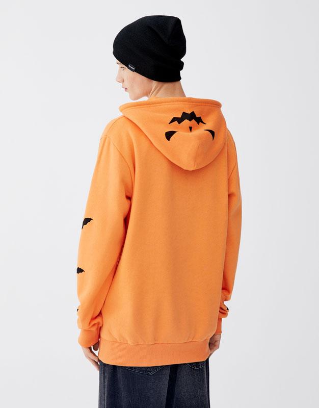 orange halloween pumpkin hoodie pull bear