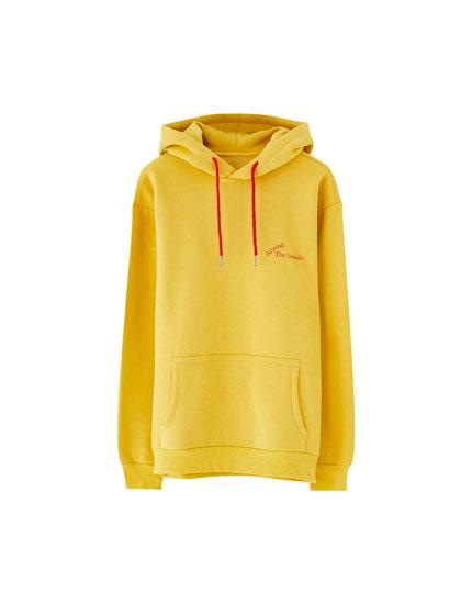 Basic-Sweatshirt mit Print und Kapuze