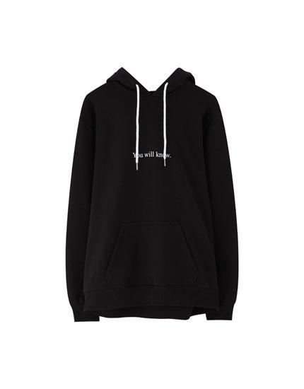 Basic, mønstret sweatshirt med hætte