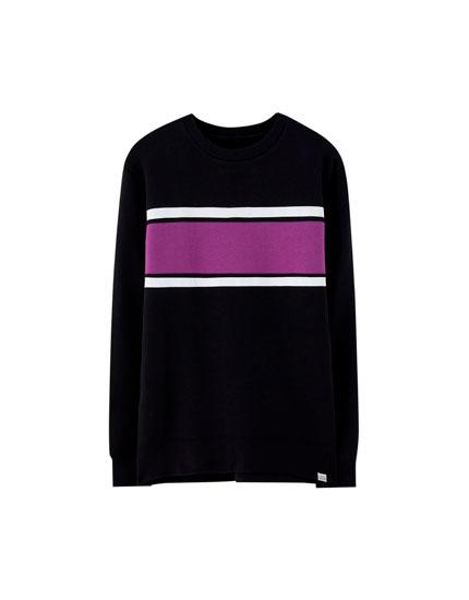 Sweatshirt med panel i stof