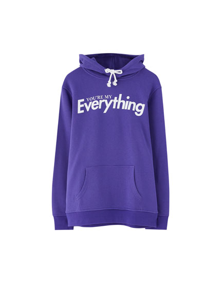 Purple hoodie with slogan
