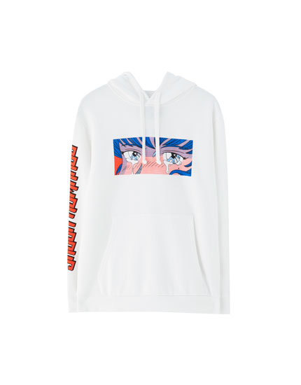 White hoodie with print
