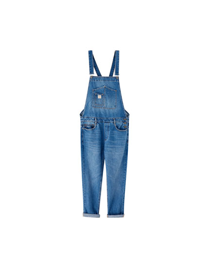 Medium blue denim dungarees
