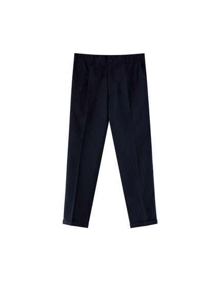 Pinstriped tailored jogging trousers