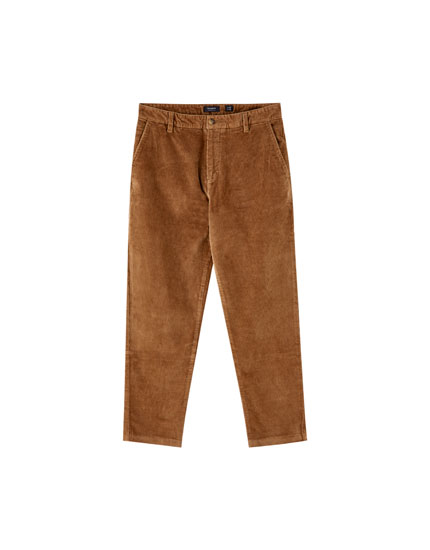 Pantalon type chino en velours côtelé