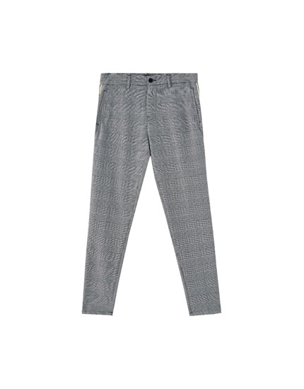 Tailored checked trousers with side stripe
