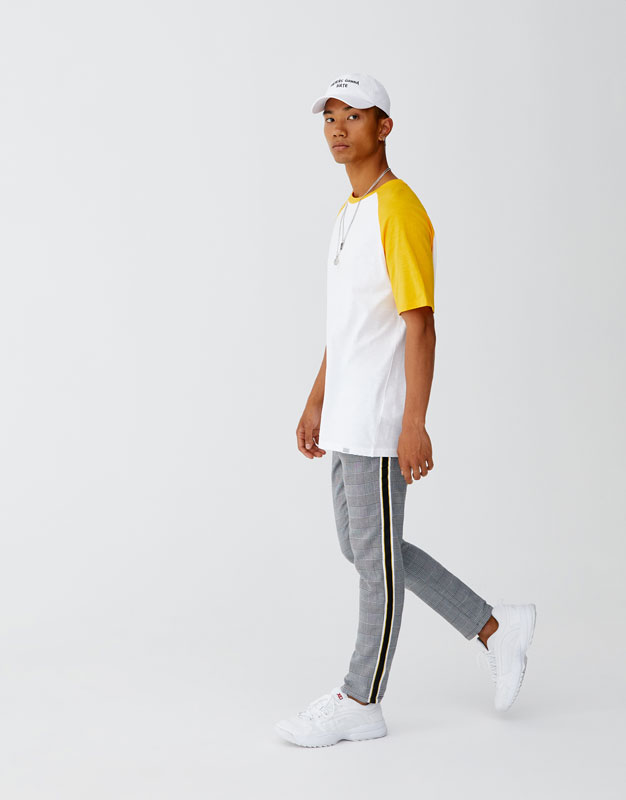 Tailored Checked Trousers With Side Stripe by Pull & Bear