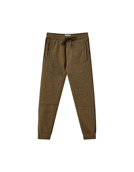 Technical piqué jogging trousers